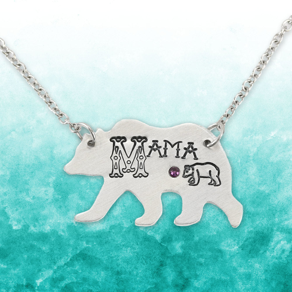 Metal Stamped Mama Bear Necklace.