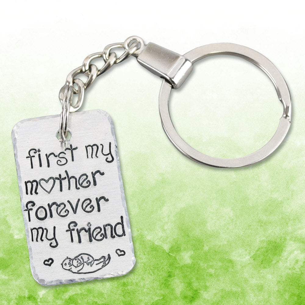 Metal Stamped Mama & Baby Otter Keychain.