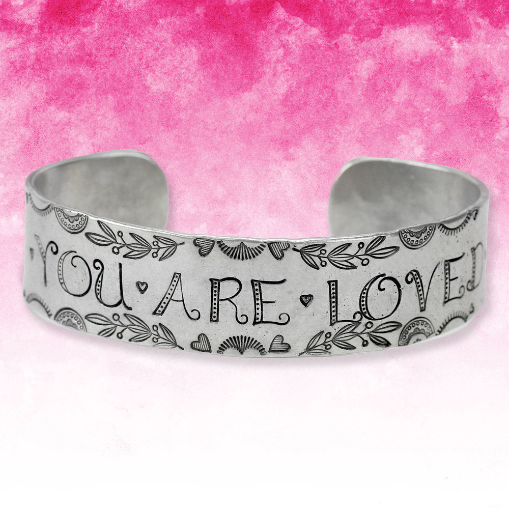 Metal Stamped You Are Loved Cuff Bracelet.