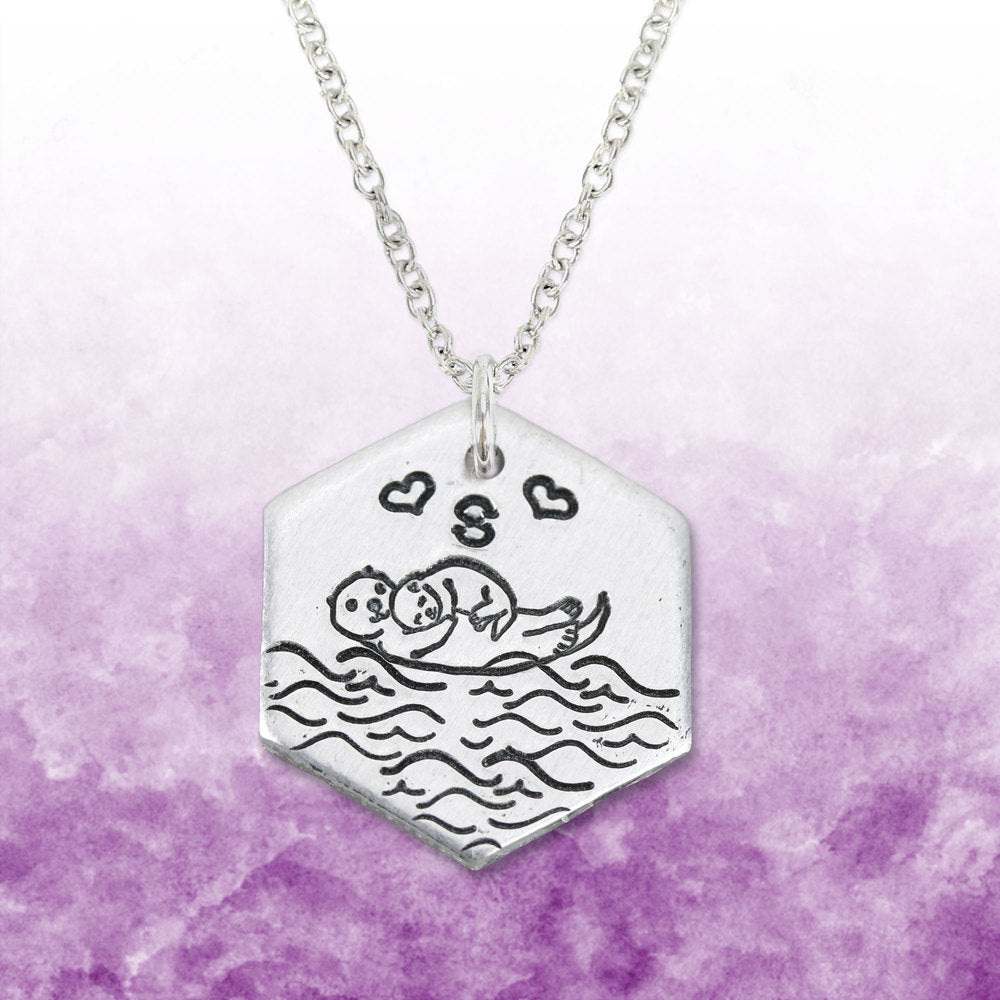 Otter Family Stamped Necklace.