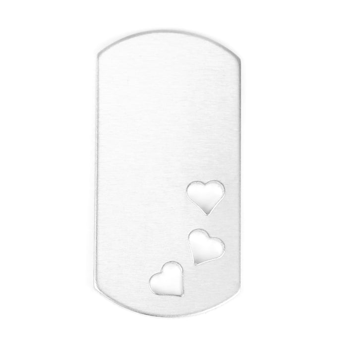 "Aluminum Dog Tag with 3 Hearts Cutout, 51mm (2"") x 25mm (1""), 14g, Pack of 5"