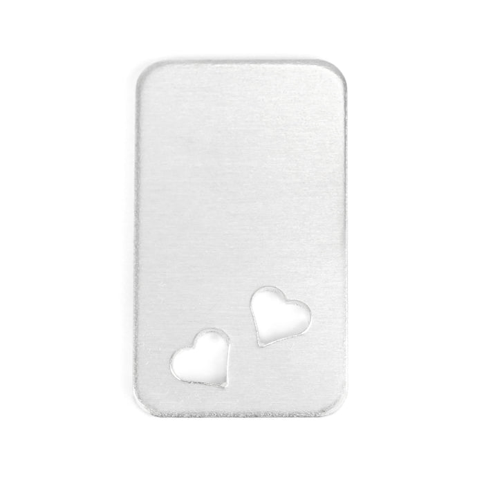 "Aluminum Rectangle w/ Rounded Corners and Two Heart Cutouts, 38mm (1.5"") x 22.4mm (.88""), 14g Pack of 5"