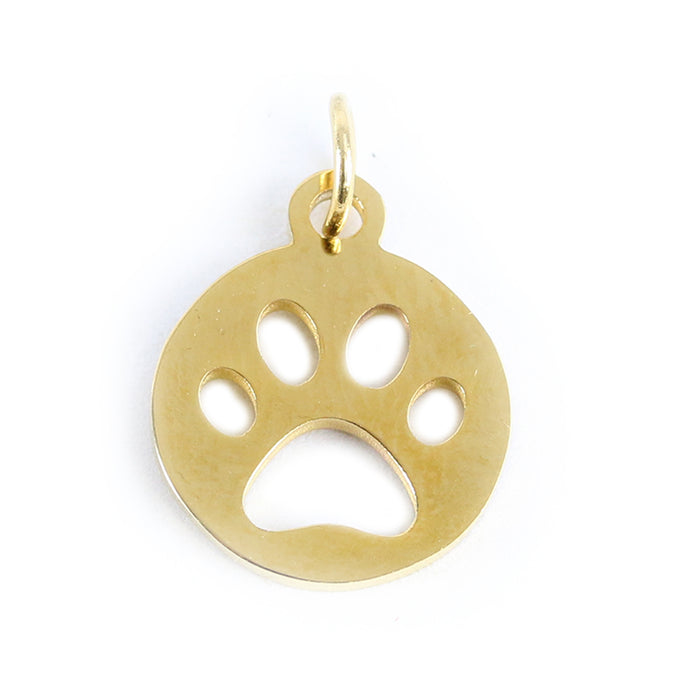 Stainless Steel, Gold Plated, Circle with Paw Cutout Charm, Pack of 3