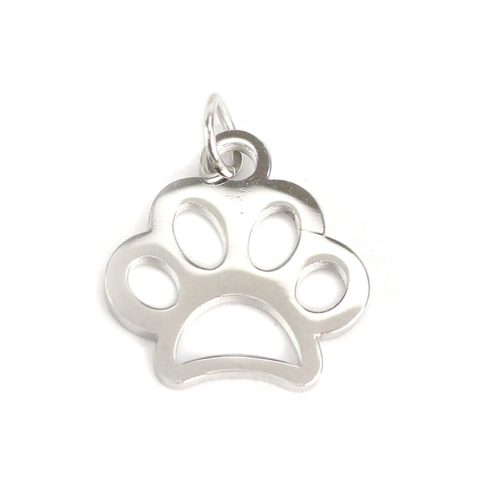 Stainless Steel Paw Charm, Pack of 5