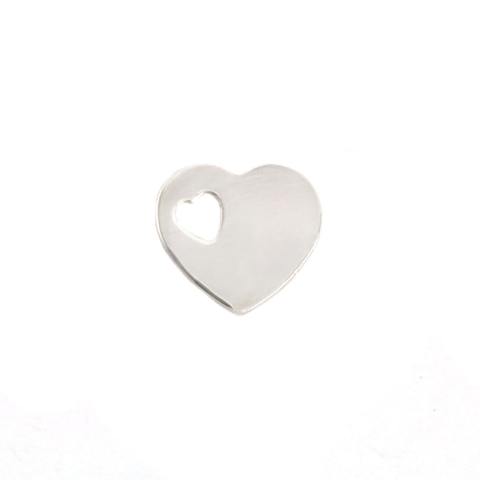 "Sterling Silver Heart with Heart Shaped Hole, 12mm (.47"") x 12mm (.47""), 24g"