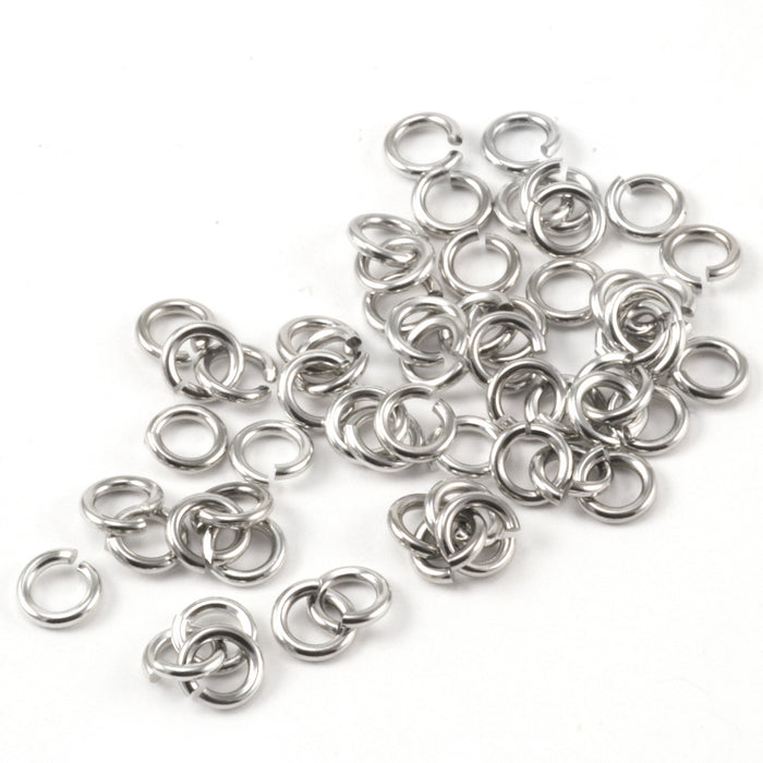 Stainless Steel 4mm I.D. 20 Gauge Jump Rings, 1/4 oz (~50 rings)