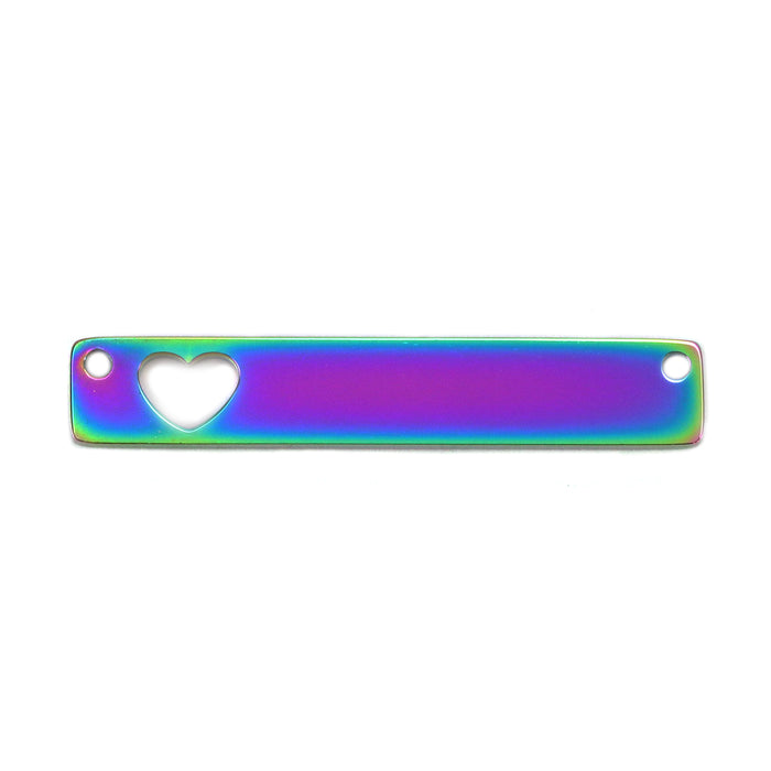 "Stainless Steel, Rainbow Color Rectangle Bar with Heart Cutout and Holes, 35mm (1.38"") x 6mm (.24""), Pack of 2"