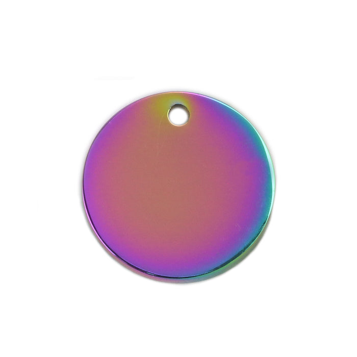 "Stainless Steel, Rainbow Color Round, Disc, Circle with Hole, 15mm (.59""), Pack of 5"