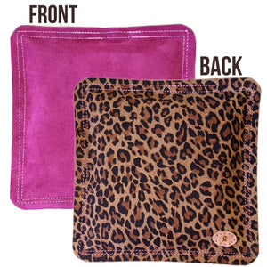 "Jewelry Making Tools Sandbag, Bench Block Pad - 9"" Square Fuchsia/Leopard Print Leather *LIMITED EDITION"
