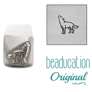 Metal Stamping Tools Wolf Howling Facing Left Metal Design Stamp, 8.2mm - Beaducation Original