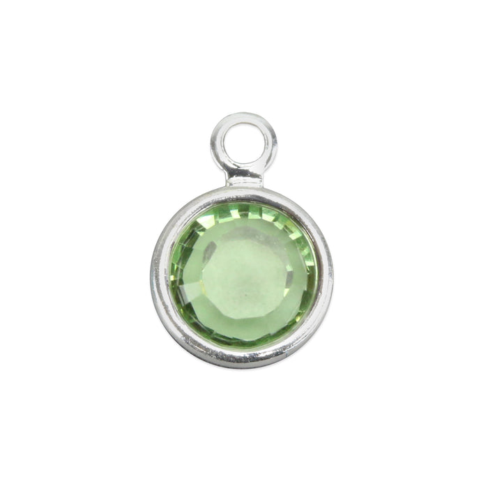Swarovski Crystal Channel Charm (Peridot - AUGUST), 6mm Stone, Pack of 8