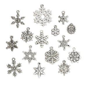 Charms & Solderable Accents Base Metal Snowflake Charm Mix, Pack of 15