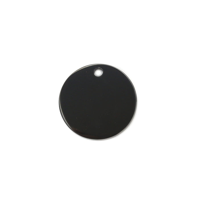 "Stainless Steel, Black Round, Disc, Circle with Hole, 12mm (.47""), Pack of 5"