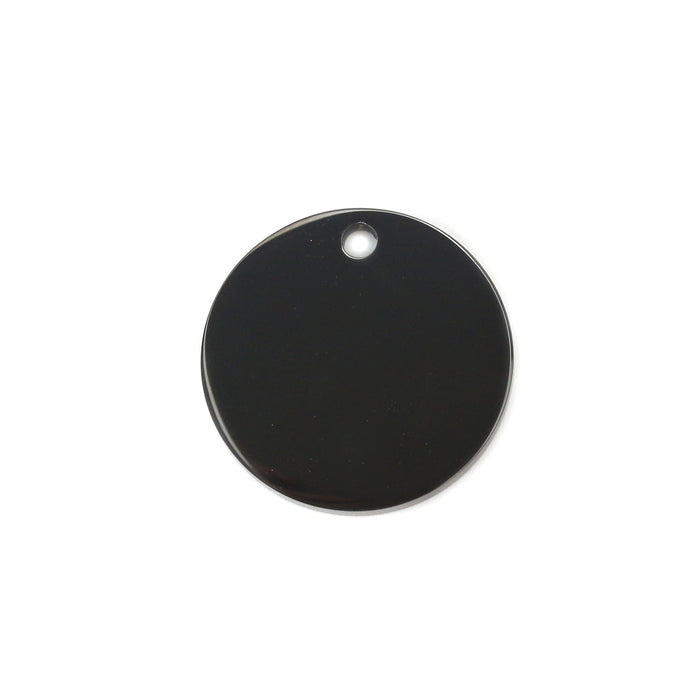"Stainless Steel, Black Round, Disc, Circle with Hole, 15mm (.59""), Pack of 5"