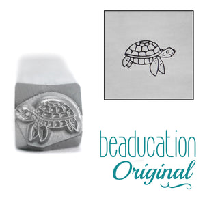 Metal Stamping Tools Sea Turtle Swimming Right Metal Design Stamp, 8.1mm - Beaducation Original