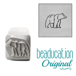 Metal Stamping Tools Mama or Papa Bear Walking Right Metal Design Stamp, 11mm - Beaducation Original