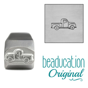 Metal Stamping Tools Old School Truck Driving Right Metal Design Stamp, 11mm - Beaducation Original