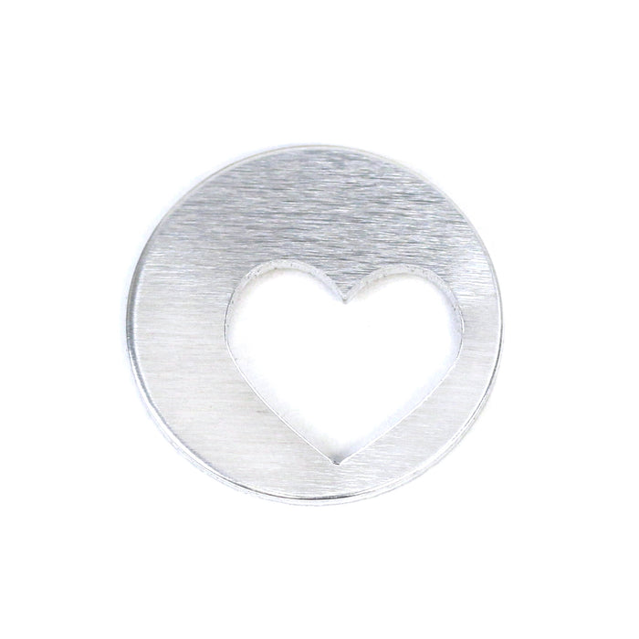 "Aluminum Round, Disc, Circle 25mm (1"") with Offset Heart Cutout , 16g, Pack of 5"