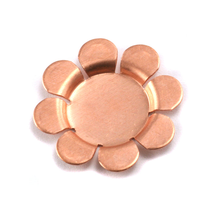 "Copper Flower with 8 Raised Petals, 22mm (.87""), 24g , Pack of 4"
