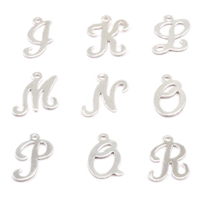 Charms & Solderable Accents Sterling Silver Script Letter Charm N, 24g