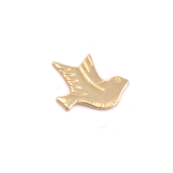 "Brass Dove Right Facing Solderable Accent, 8.5mm (.34"") x 6.7mm (.26""), 24g - Pack of 5"