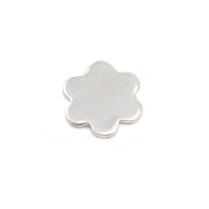 "Sterling Silver Mini Flower w/ 6 Petals Solderable Accent , 7mm (.27""), 24g - Pack of 5"