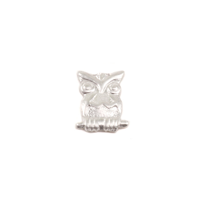 "Sterling Silver Owl Solderable Accent, 9mm (.35"") x 7mm (.27""), 24g - Pack of 5"