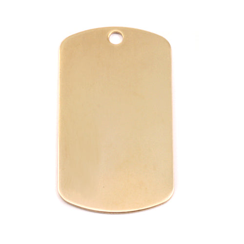 "Brass Large Dog Tag, 35mm (1.38"") x 18mm (.71""), 24g, Pack of 5"