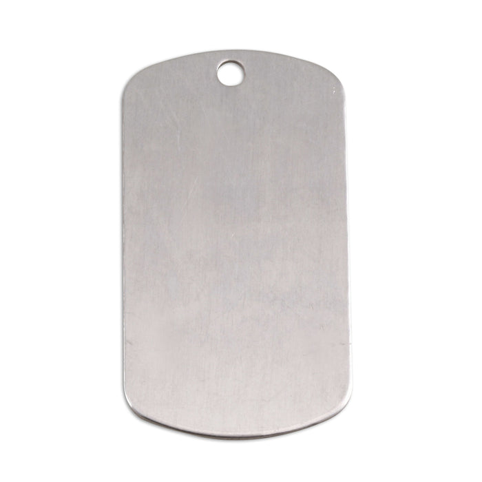 "Aluminum Dog Tag with Hole, 35mm (1.38"") x 18mm (.71""), 18g, Pack of 5"