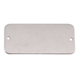 "Metal Stamping Blanks Aluminum Rectangle with Holes, 44.5mm (1.75"") x 20mm (.79""), 18g, Pack of 5"