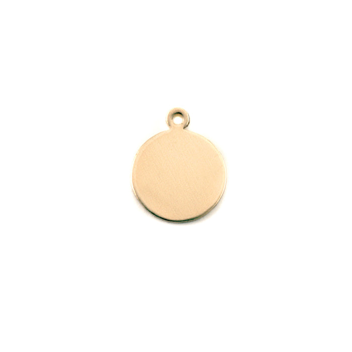"Brass Round, Disc, Circle with Top Loop, 9.5mm (.37""),  24g, Pack of 5"