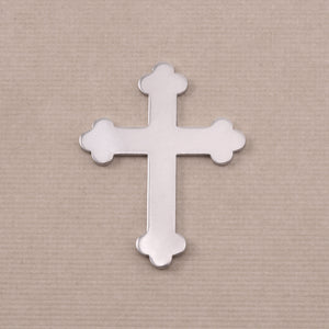 "Metal Stamping Blanks Aluminum Fancy Cross, 30mm (1.18"") x 23.5mm (.92""), 18g, Pack of 5"