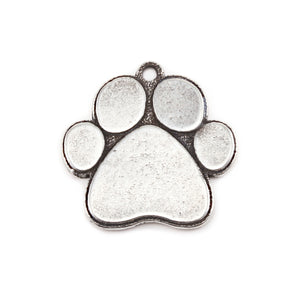 "Metal Stamping Blanks Pewter Dog Paw Pendant, 23mm (.9"") x 23mm (.9""), 16g"