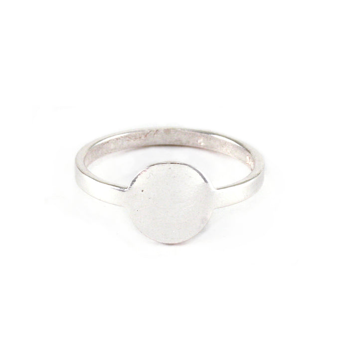 Sterling Silver Circle Ring Stamping Blank, SIZE 8