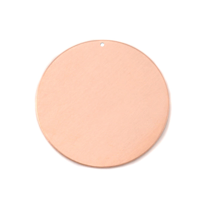 "Copper Round, Disc, Circle with Hole, 25mm (1""), 24g, Pack of 5"