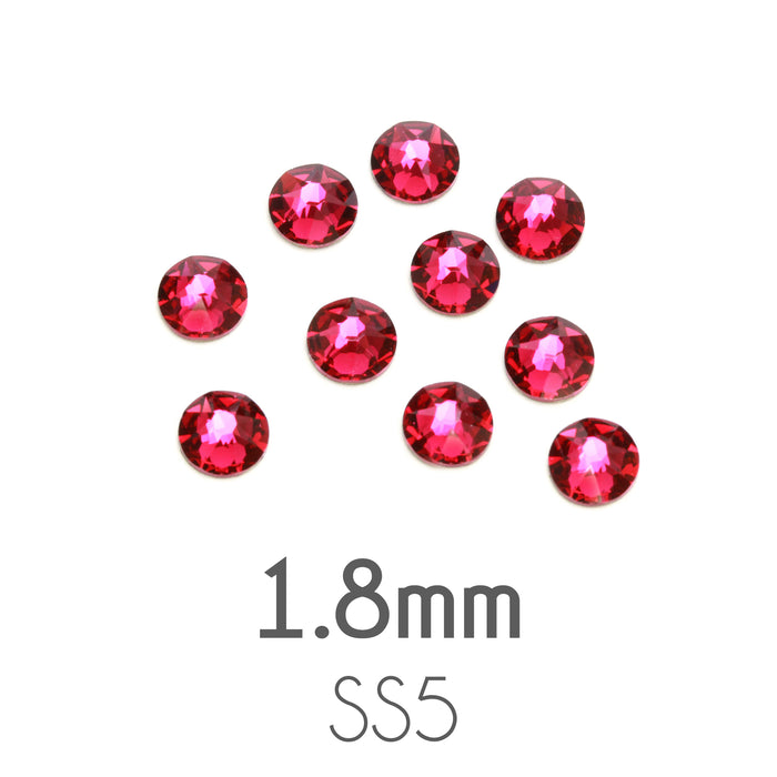 1.8mm Swarovski Flat Back Crystals, Ruby / Dark Pink, Pack of 20