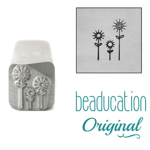 Three Flowers Metal Design Stamp, 9mm - Beaducation Original