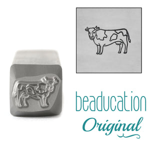 Cow Facing Left Metal Design Stamp, 10mm - Beaducation Original