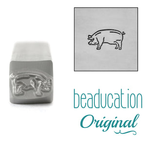 Pig Facing Left Metal Design Stamp, 8mm - Beaducation Original