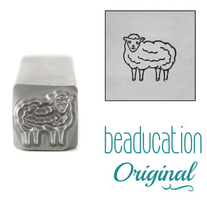Sheep Facing Left Metal Design Stamp, 8mm - Beaducation Original