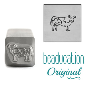 Cow Facing Right Metal Design Stamp, 10mm - Beaducation Original