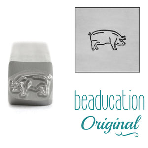 Pig Facing Right Metal Design Stamp, 8mm - Beaducation Original