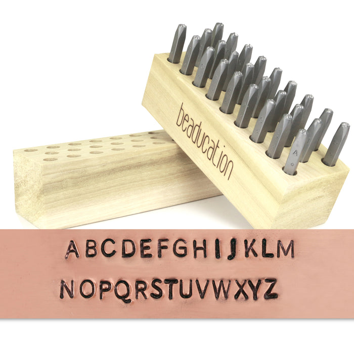 "Beaducation Block Uppercase Letter Stamp Set 3/32"" (2.4mm)"