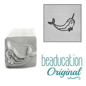 Narwhal Whale Swimming Right Metal Design Stamp, 11mm - Beaducation Original