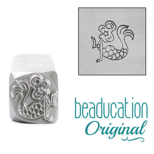 Mermaid Blowing Kiss Swimming Left Metal Design Stamp, 11mm Beaducation Original