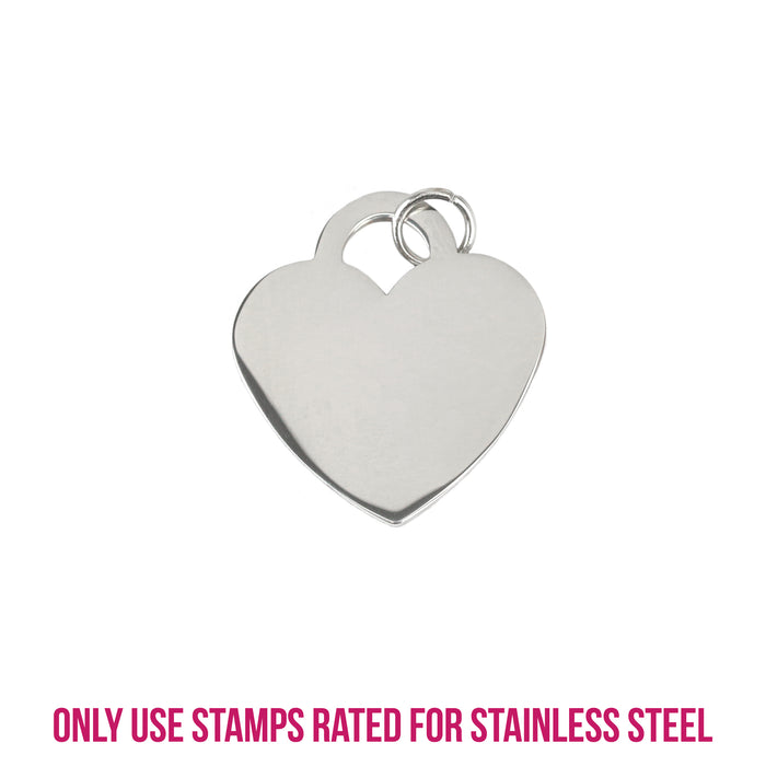 "Stainless Steel Tiffany Style Heart, 23.4mm (.92"") x 21.4mm (.84""), 16 Gauge, Pack of 5"