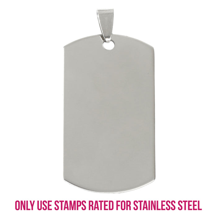 "Stainless Steel Rectangle Dog Tag with Hole and Bail, 43mm (1.7"") x 22mm (.87""), 14g, Pack of 5"