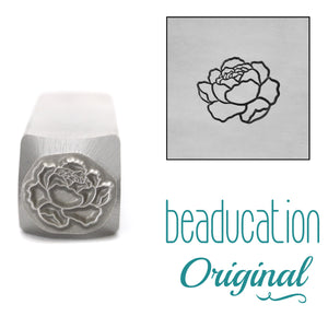 Peony Flower Metal Design Stamp, 8mm - Beaducation Original