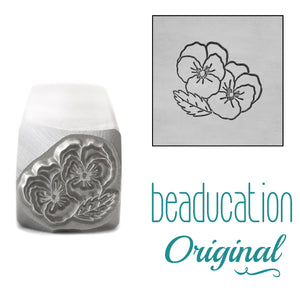 Violet Metal Design Stamp, February Birth Month Flower, 11mm - Beaducation Original