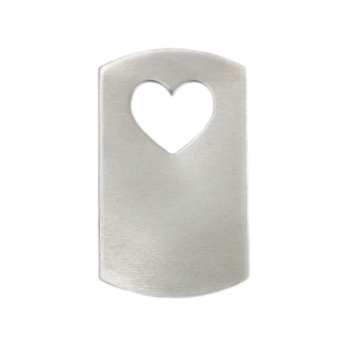 "Aluminum Dog Tag with Heart Cut Out, 47mm (1.85"") x 28mm (1.1""), 16g, Pack of 5"